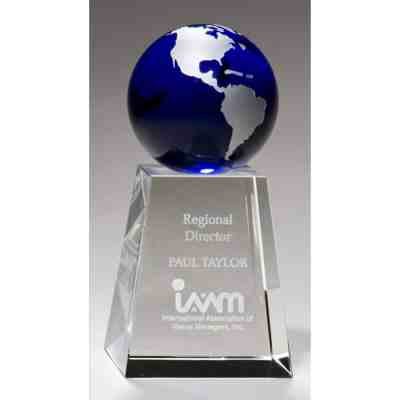 Blue Globe Crystal Trophy with Etched