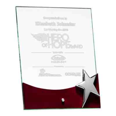 Silver Star Standing Glass Aware G2792