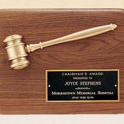 Antique Bronze Gavel Plaque