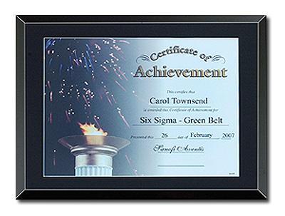 Black Glass Certificate Plaque