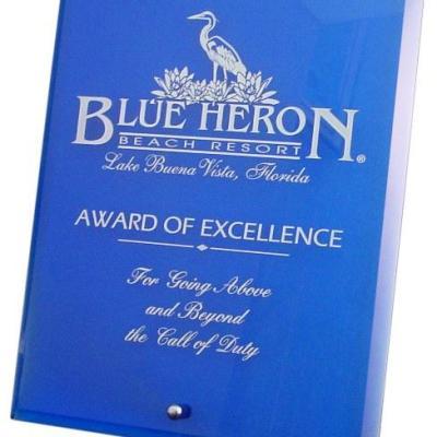 Blue Glass Plaque Award