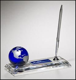 Blue Globe Crystal Pen Set