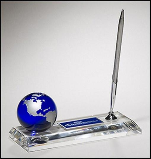 Blue Globe Crystal Pen Set