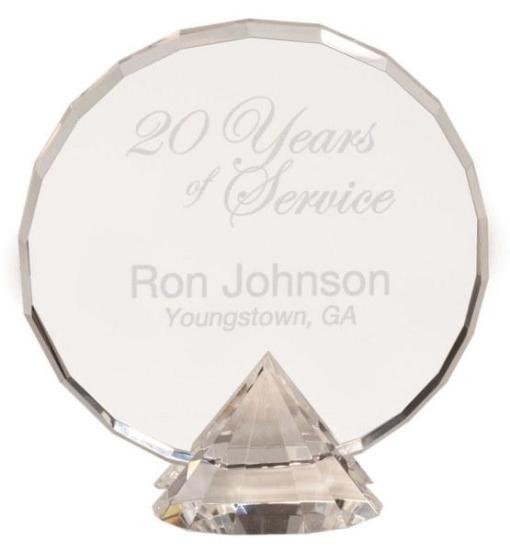 Crystal Circle Award on Diamond Base