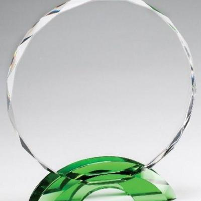 Green Double Arc Circle Glass Award