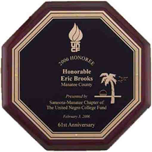 Octagon Rosewood Piano Finish Plaque