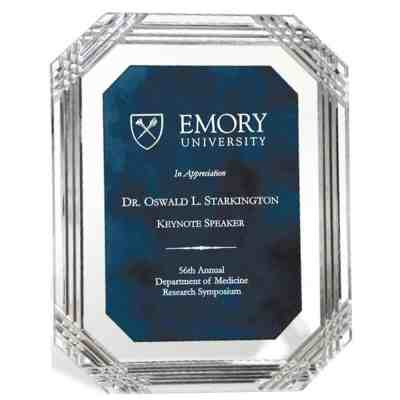 Blue Carved Octagan Acrylic Plaque
