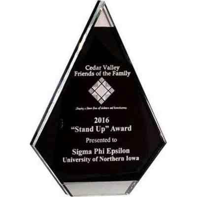 black and silver arrowhead acrylic award