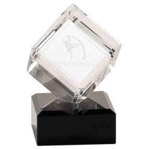 Clear Crystal cube on a Black Marble Base Award