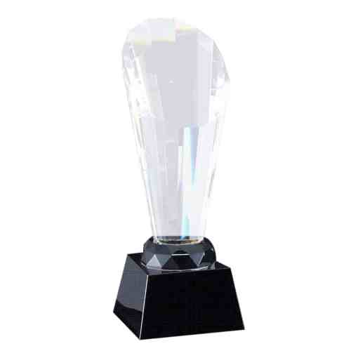 Faceted Optic Crystal Award on a Black Base