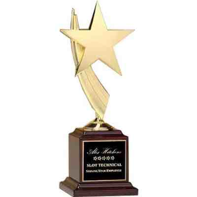 gold star award on a rosewood base