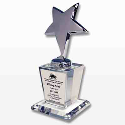 Silver Star Award on Crystal Base ~ Plate