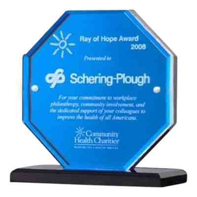 blue octagon acrylic award