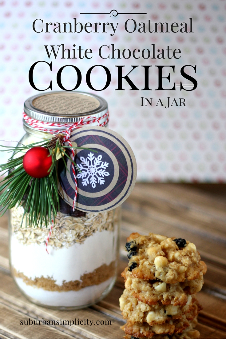 Cranberry White Chocolate Oatmeal Cookies in a Jar