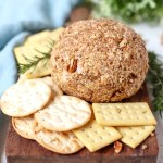Blue Cheese and Pecan Cheese Ball on a serving plate