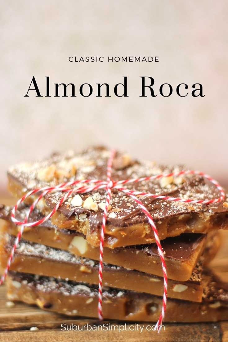 Are you looking for the best Almond Roca recipe? This is it! Perfect every time. The rich caramel covered with smooth chocolate and almonds is delicious and contains no corn syrup. #almondroca #englishtoffee #candy