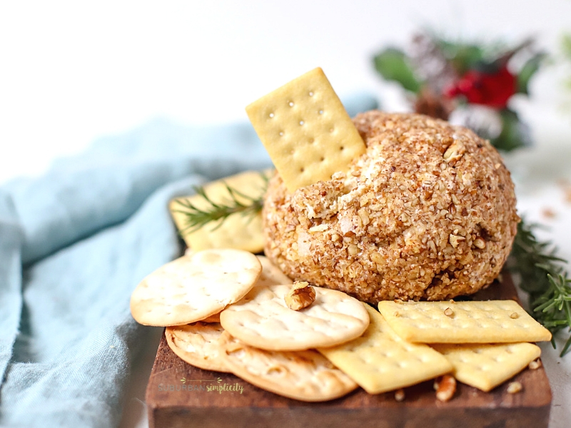 Blue Cheese and Pecan Cheeseball on a serving plate