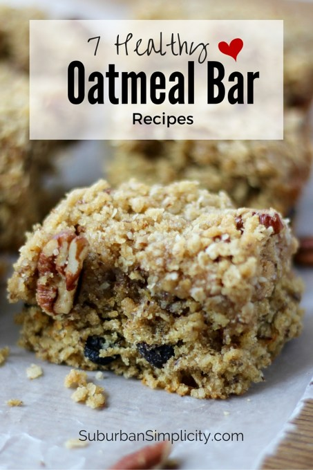 7 Healthy Oatmeal Bar Recipes to make sure you stay heart healthy! These delicious recipes are great for breakfast or any time of the day!