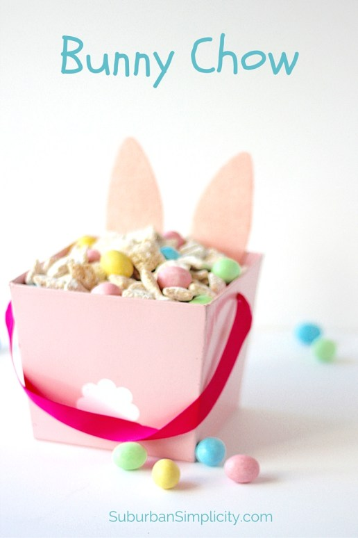 Turn Muddy Buddies into an Easter Treat - Bunny Chow! This tasty snack idea is good for parties or just snacking. Careful - it's gone in a flash!