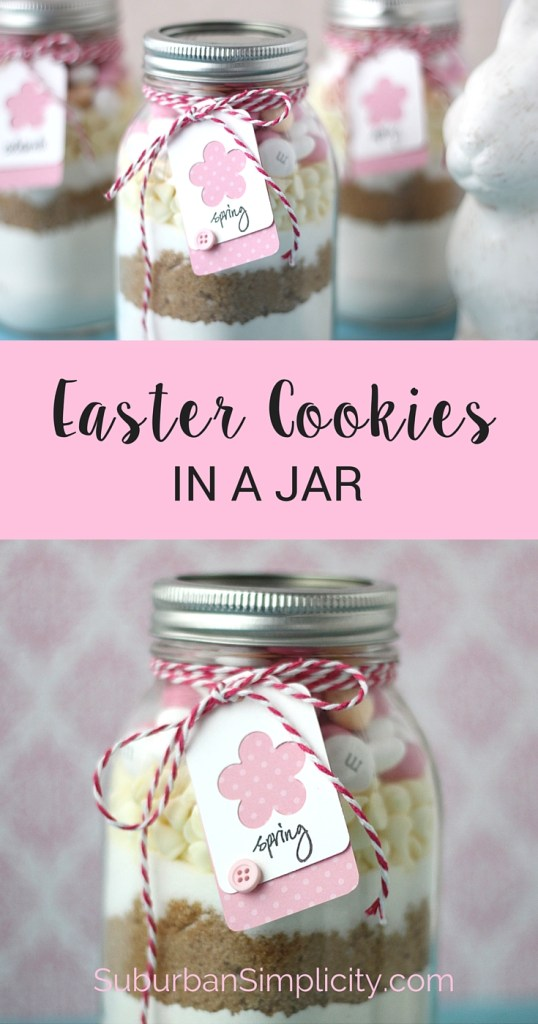 Easter Cookies in a jar make a perfect gift for whoever is hosting your Easter brunch! Or surprise your neighbor or child's teacher with a homemade springtime treat | Recipe