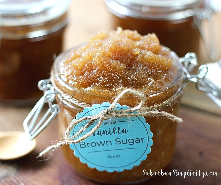 Vanilla Brown Sugar Scrub in a jar tied with twine and a aqua tag.