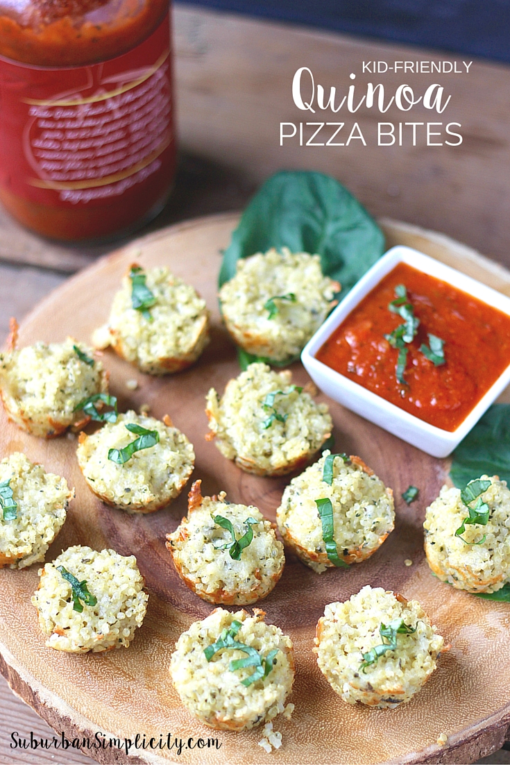 This healthy, gluten free recipe idea is a kid pleaser! Quinoa Pizza Bites make a nutritious meal or snack the whole family will love. The perfect pizza alternative that's so easy to make. #pizza #quinoa #kidfriendly #recipe #healthy
