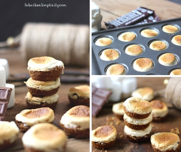 Images showing S'more bites in a mini muffin pan and then stacked after baking.