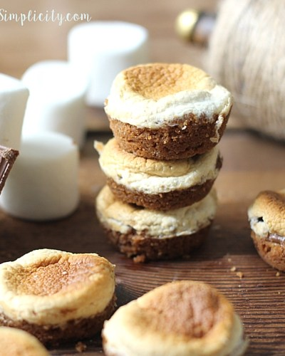 Yummy S'mores Bites stacked together ready to eat.