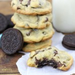 Oreo Stuffed Chocolate Chip Cookies Stack