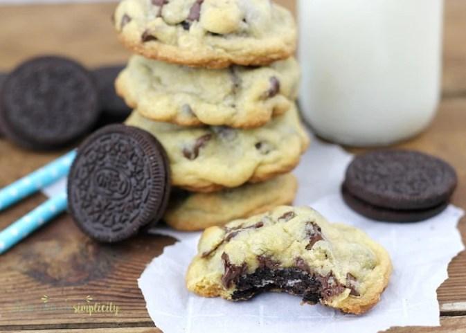 Stack of Oreo Stuffed Chocolate Chip Cookies