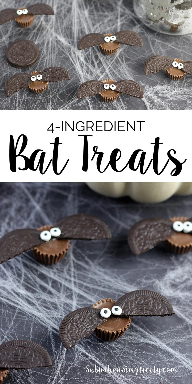 Looking for an adorable treat recipe to serve at your Halloween party? Try these Easy 4-Ingredient Bat Treats! Spooky good...kids of all ages love 'em! #Halloween #treats #candy