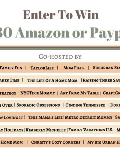 It's time for a $130 Amazon Gift Card or PayPal Giveaway!! Enter now for your chance to win!