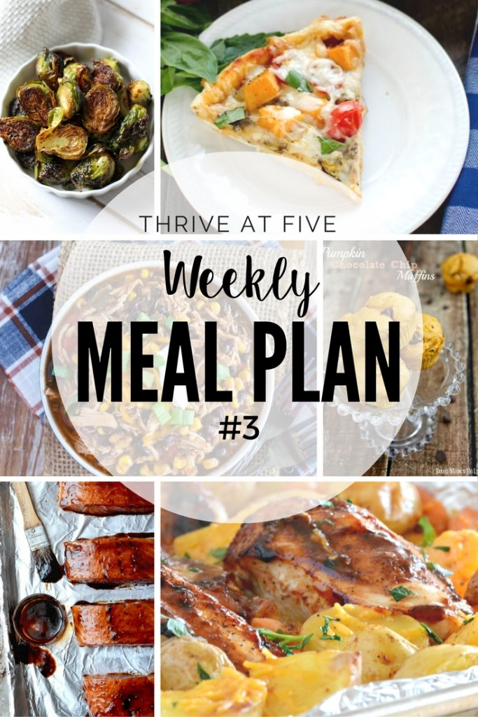 "Thrive at Five Weekly Meal Plan #3 is your shortcut to fresh and delicious meal ideas your family will love! Now you know the answer to ""What's for dinner""!"