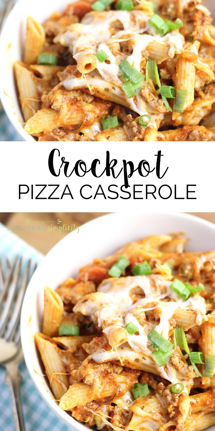 Crockpot Pizza Casserole is an easy weeknight dinner everyone LOVES! Simple and delicious every time. It's even great leftover for lunch the next day! #slowcookerrecipes #pizza
