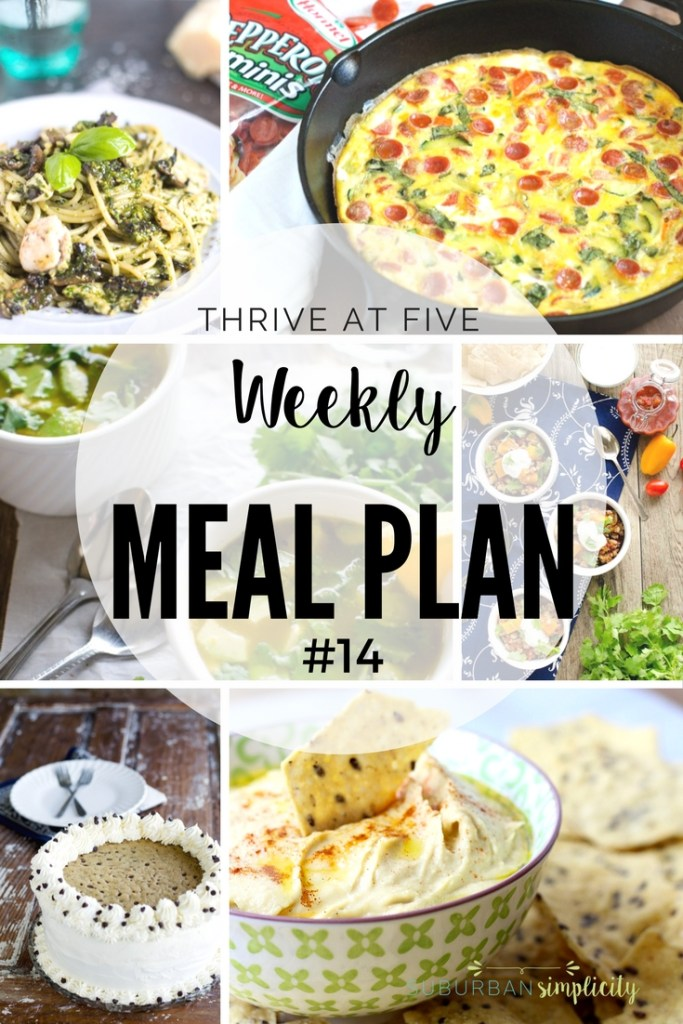 Thrive at Five Weekly Meal Plan #14 is your shortcut to fresh and tasty dinner recipe ideas your family will love! Let's get cooking!