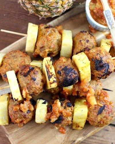 Pineapple Meatballs Skewers stacked up ready to eat!