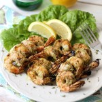 Grilled Pesto Shrimp Skewers are a perfect summer recipe idea! Easy to make, healthy and please a crowd. Skewers are for much more than beef and chicken!