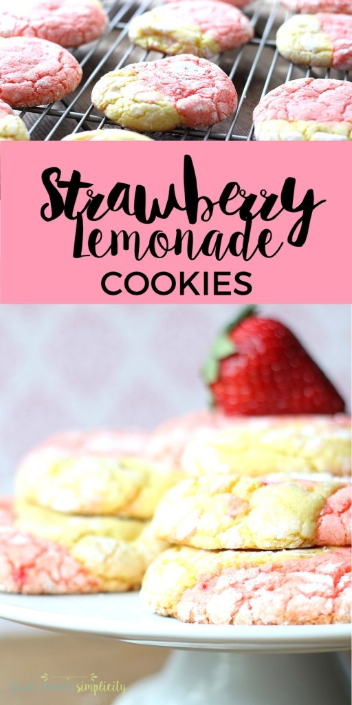Have a little bite of summer anytime with these easy Strawberry Lemonade Cookies - swirls of sweet deliciousness! A cake mix cookie recipe kids love and can help make!