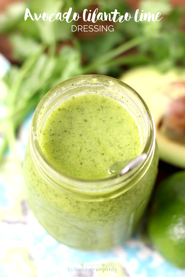 Healthy Avocado Cilantro Lime Dressing is a flavorful way to dress your salad or rice bowl.  It's gluten free, paleo friendly and heart healthy!