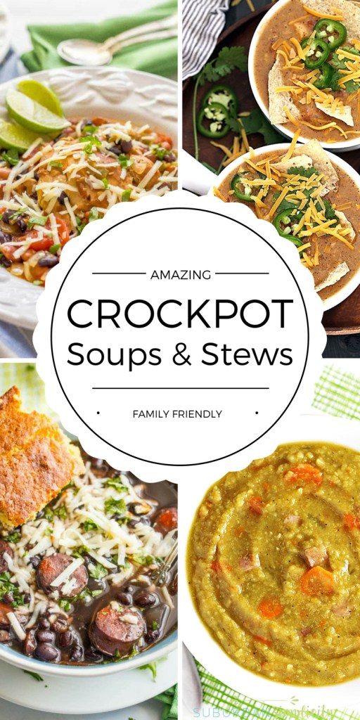 Enjoy these hearty family friendly crockpot soup and stew recipes this season. They're easy to make dinner ideas that feed a crowd.