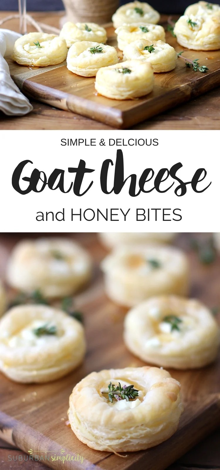 avory Goat Cheese and Honey Bites are the perfect appetizer recipe for your next gathering or holiday party. Flaky pastry topped with creamy goat cheese, sweet honey and thyme make an easy entertaining idea! #appetizers #puffpastry