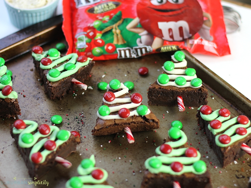 Make your holidays extra festive with these fudgy M&M'S Brownie Christmas Trees.  Delicious and easy to make, this holiday dessert is a crowd pleaser! #ad #M&Mrecipe #Christamsrecipesdessert