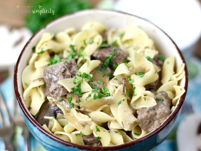 Crockpot beef stroganoff in a bowl ready to eat.