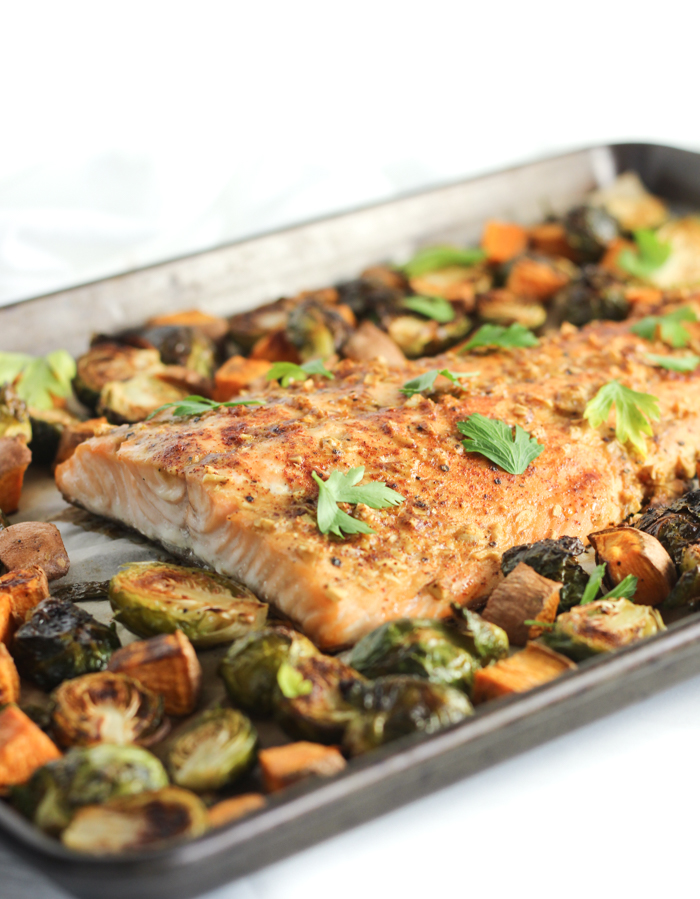Sheet Pan Maple Dijon Salmon in a sheet pan from the oven.
