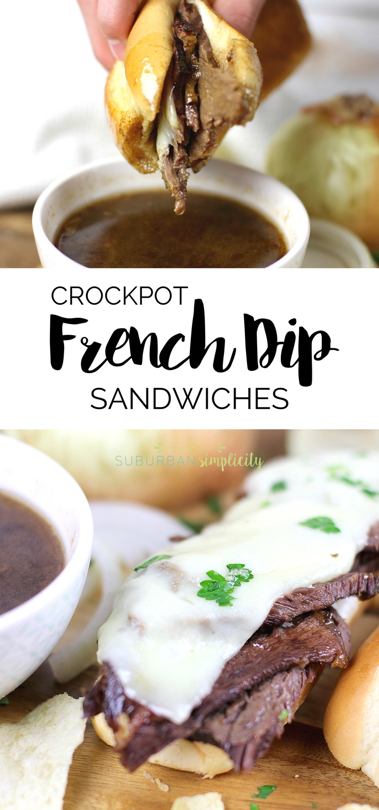 Crockpot French Dip Sandwiches are an easy dinner idea that you'll fall in love with. Tender beef atop a toasted sandwich roll with an incredibly delicious dipping sauce make this slow cooker recipe a winner!