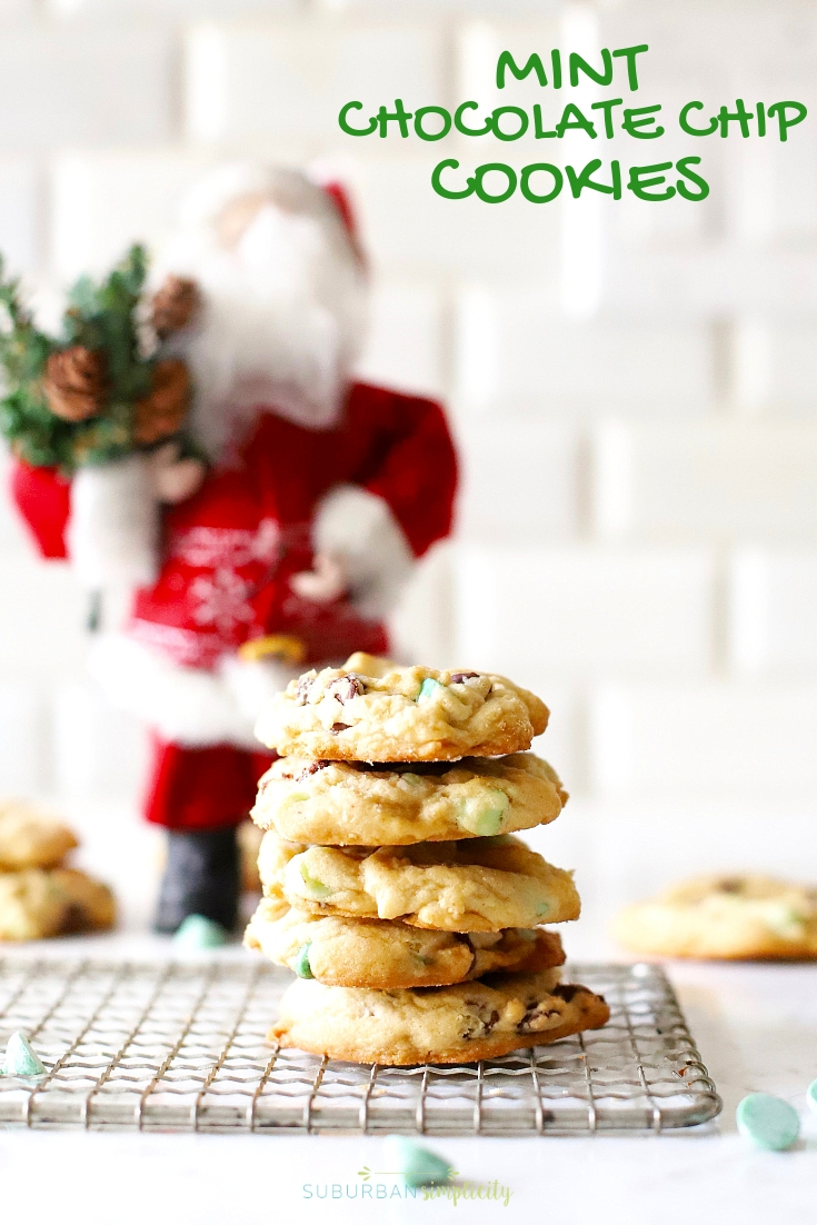 Mint Chocolate Chip Cookies are a must make! The combination of sweet chocolate & mint is something special in these made from scratch cookies! Perfect for everything from Christmas to St. Patrick's Day! #cookies #suburbansimplicity #mint #mintchocolatechip #baking