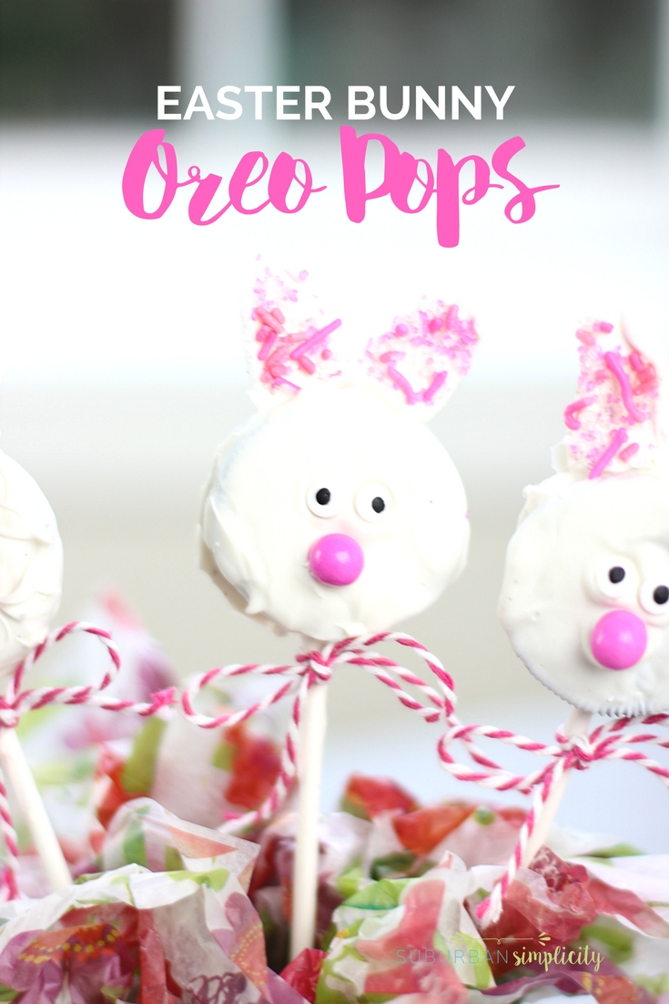 Cupe Bunny Oreo Pops with ribbon bow ties.