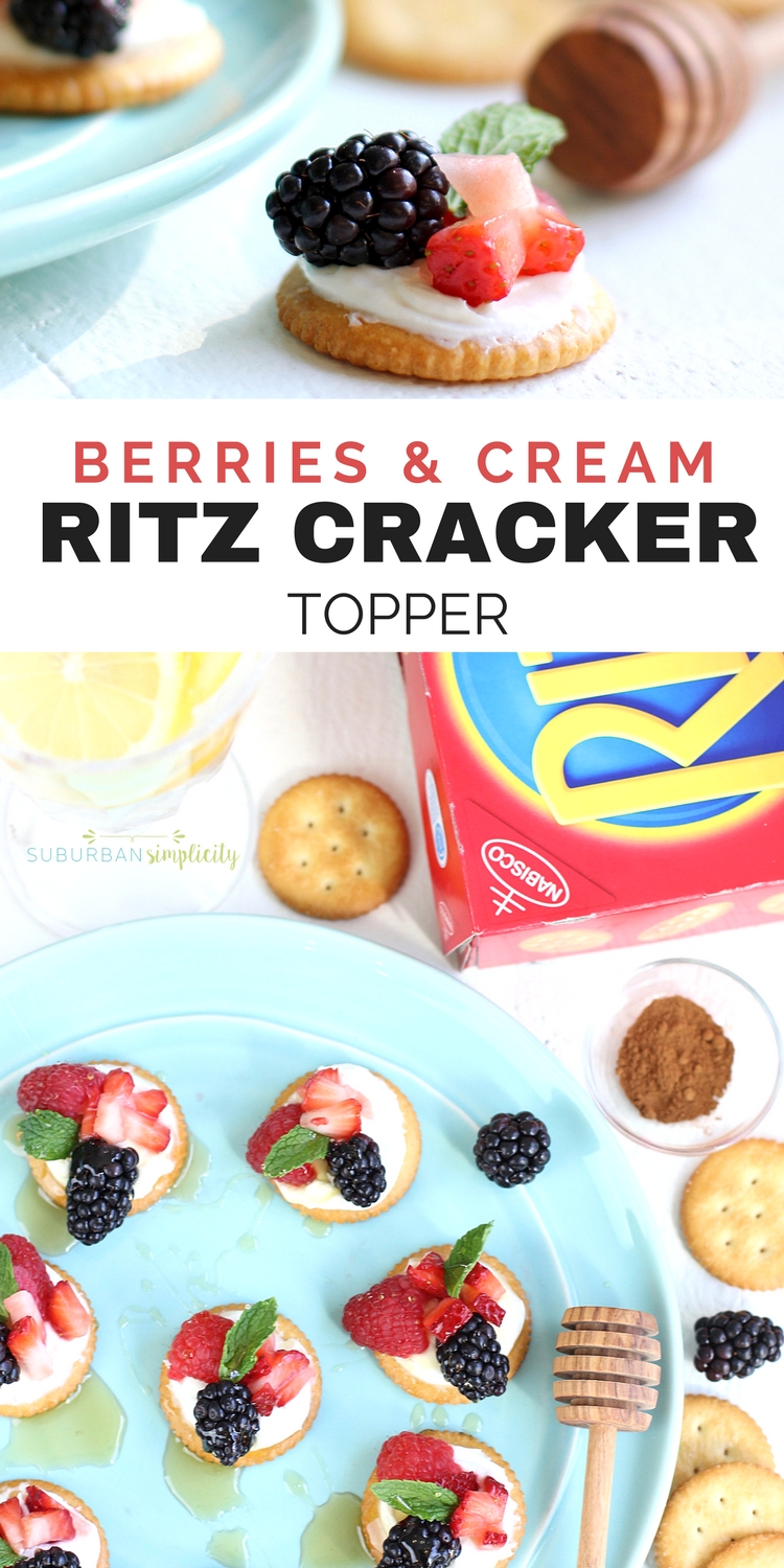 This Berries and Cream Ritz Cracker Topper is a must try recipe! RITZ Crackers topped with cream cheese and yogurt slightly sweetened with sugar and spiced with cinnamon, finished with fresh berries and drizzled with honey. Scrumptious!