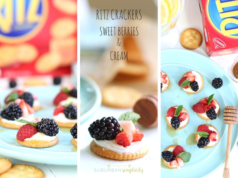 Trio of pictures showing a Ritz Cracker topped with berries and cream.