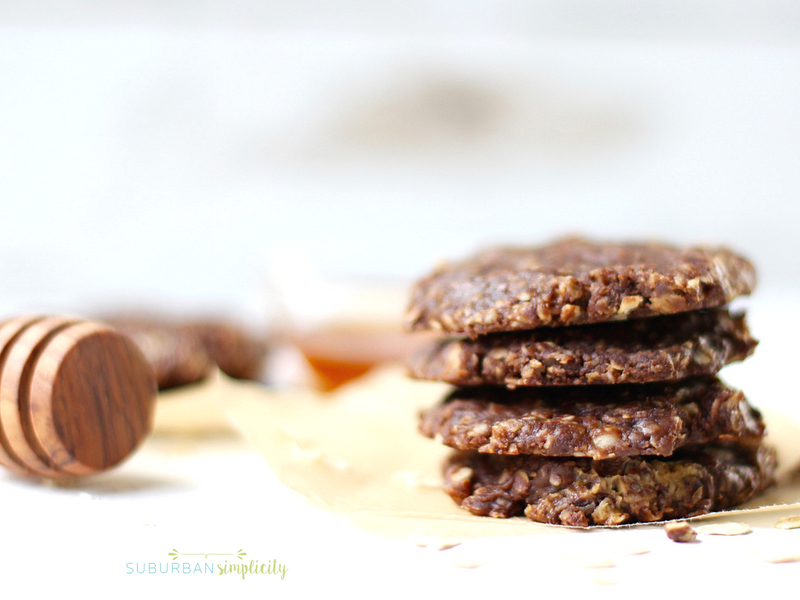 Healthy no bake cookies stacked together.
